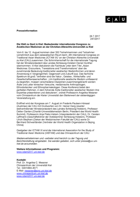 Press information of Kiel University